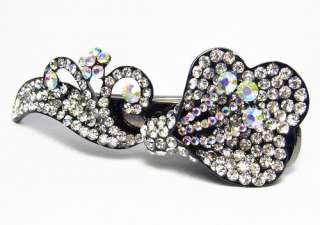 LILY CLEAR AUSTRIAN RHINESTONE CRYSTAL LONG HAIR CLAMP CLIP CLAW