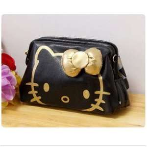Hello Kitty Black Soft Leather Cute Cosmetic Bag/Make up Bag/Cosmetic