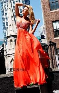 Sherri Hill 3802 Strapless Embellished Prom Dress Coral Evening Sz 2 6