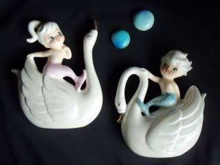 VINTAGE NORCREST MERMAID GIRL BOY MERBOY SWAN BIRD CERAMIC WALL PLAQUE