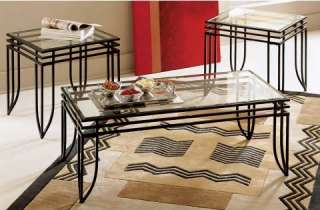 NEW 3PC MATRIX BLACK METAL & GLASS COFFEE END TABLE SET