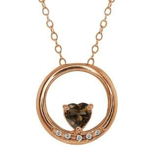 Shape Brown Smoky Quartz and Topaz Gold Plated Silver Pendant Jewelry