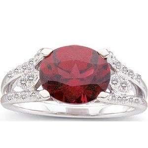 Enchanting Pinkish Red Rhodolite Garnet Ring   Fancy Diamond Encrusted