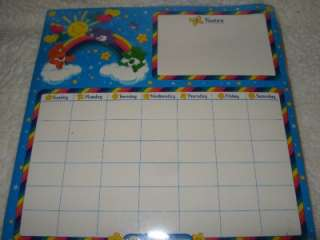 CARE BEARS Dry Erase MAGNETIC Memo Board DAY/MONTH Calendar PLANNER