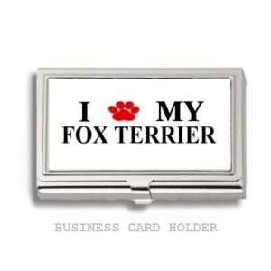 Fox Terrier Love My Dog Paw Business Card Holder Case