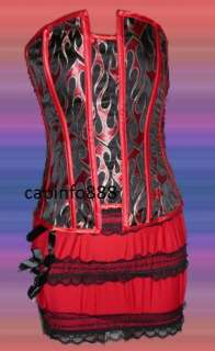 Sexy Red Fire Corset Bustier & Mini Skirt S L 2XL size