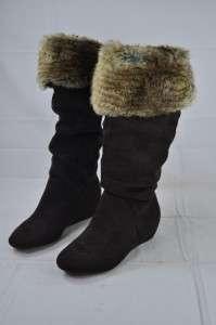REPORT FOOTWEAR ENFIELD DARK BROWN FUR BOOT SUEDE SIZE 7.5 BRAND NEW