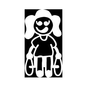 Wheelchair Girl Stick Figure Family stick em up White vinyl Die Cut