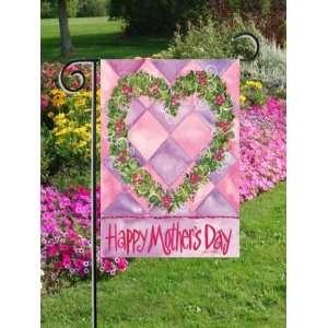 Happy Mothers Day Heart Wreath Mini Flag Patio, Lawn