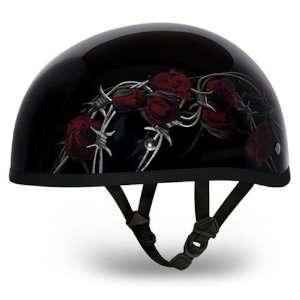 Roses Beanie DOT Motorcycle Skull Cap Half Helmet [Medium] Automotive