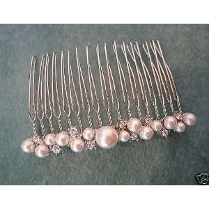 Pearl & Crystal Hair COMB Pin headpiece clasp, bridal wedding prom