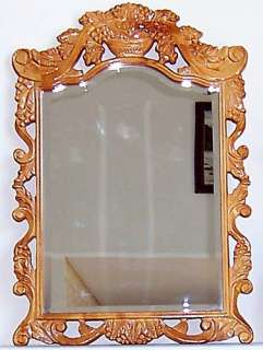NEW Large Cherry Rectangle Ornate Carved Wooden Frame Beveled Mirror