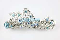 Aquamarine Butterfly Austrian Rhinestone Crystal Hair Barrette Clip
