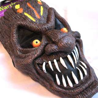 HALLOWEEN Party SCARY Dark Brown WARRIOR FACE MASK White Teeth