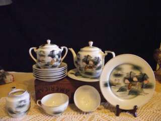 ANTIQUE LITHOPANE TEAPOT SET JAPANESE GEISHA GIRL VGC!