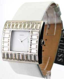 WOMENS GUESS WHITE LEATHER CRYSTAL BEZEL WATCH W11524L4