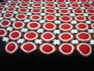 VINTAGE RED/WHITE CROCHETED BEDSPREAD #D965