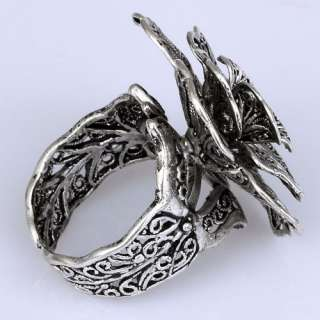 Unique Adjustable Black Tibetan Silver Carved Big Bloom Flower Ring