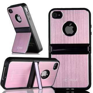 Blue Aluminum TPU Hard Case Cover W/Chrome Stand For iPhone 4 4G 4S