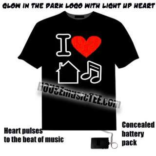 Love House Music t shirt Glow In The Dark LED light up el rave