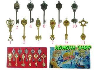 FAIRY TAIL SETdi11 CHIAVI COSPLAY LUCY GOLD SILVER KEY