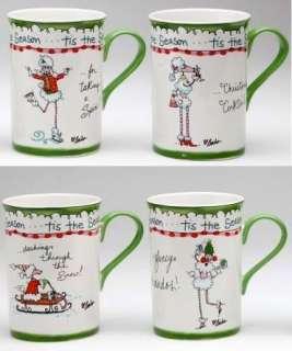 Ruby White POODLE Dog Christmas Coffee Tea Cup MUG SET 4 by Babs tis