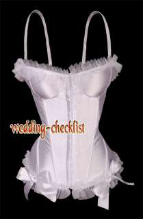 White Satin Lace Ruffle CORSET French Ribbon Bustier L g5605_w g543