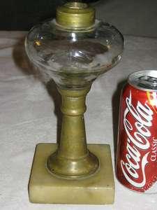 ANTIQUE WHALE OIL LAMP MARBLE BASE PRIMITIVE BLOWN GLASS FONT BRASS