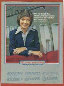 1980 American Airlines Ad Flight Attendant  Neat Attire