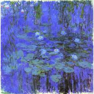 Blue Water Lilies  Art Reproduction Oil Painting