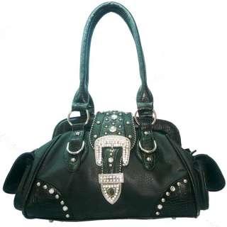 Studded western style satchel bag w/ rhinestone buckle