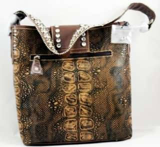 Brown Western Hunter Tote Purse Handbag Skin Style New