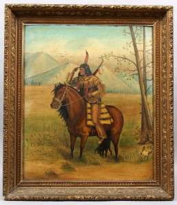 CANADIAN AMERICAN INDIAN WESTERN OIL PAINTING CHIEF HORSE PORTRAIT