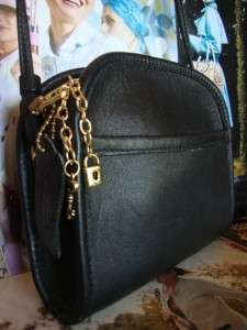 COACH~BLACK~LEATHER~ABBIE~COIN~PURSE~BAG~KEYCHAIN~USA