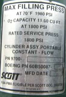Scott Aviation Boeing Aircraft Oxygen Tank Air Supply