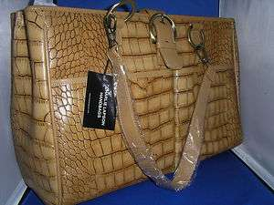 New Charlie Lapson Leather Croco Embossed Handbag Tote in Camel |