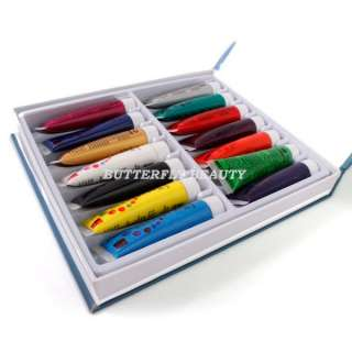 14 COLOR 3D NAIL ART PAINT Brush Pallet Acrylic Gel J26