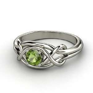 Infinity Knot Ring, Round Green Tourmaline 14K White Gold