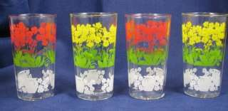 Set of 4 Flower Juice Drinking Tumbler Glasses