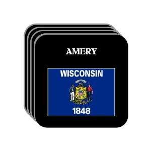 US State Flag   AMERY, Wisconsin (WI) Set of 4 Mini Mousepad Coasters