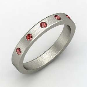 Anahit Band, Round Red Garnet Sterling Silver Ring