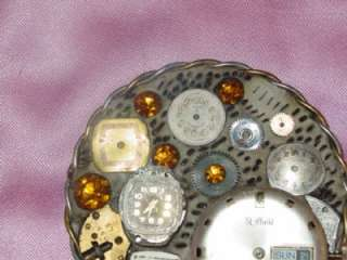 Hand made Artisan Modernist Designer signed Rhinestone Brooch Pin