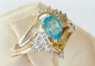 NEW SPARKLING PEAR SHAPED GENUINE BLUE TOPAZ DIAMOND RING 10KT SOLID