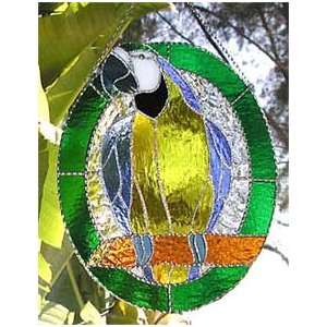 Stained Glass Blue & Gold Macaw Parrot   10 x 12 Home