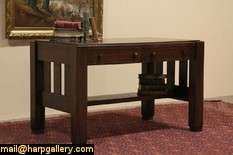 & Crafts Mission Oak 1905 Antique Library Table Writing Desk