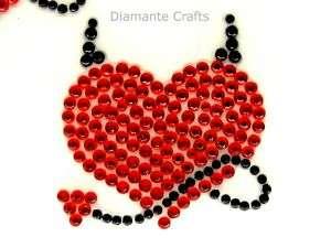 32mm RED diamante DEVIL HEARTS rhinestone VAJAZZLE