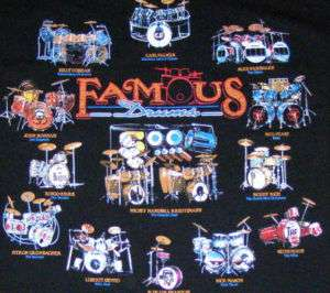 FAMOUS DRUM SETS T SHIRT Buddy Rich, Ringo Starr NEW