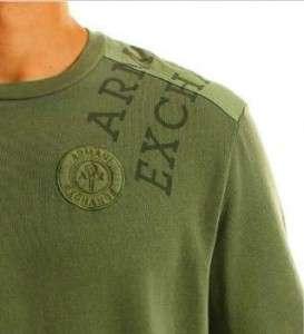 Armani Exchange Woven Pieced Logo Thermal Crew Military NWT