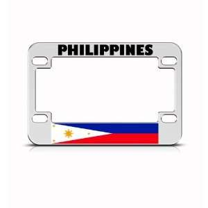 Philippines Flag Metal Motorcycle Bike license plate frame Tag Holder