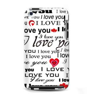 For Apple iPod Touch 4 Hard RUBBERIZED Case I Love You